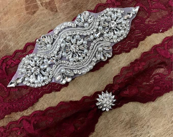 Burgundy Red Wedding Garter Set NO SLIP grip vintage rhinestones A05S-A29