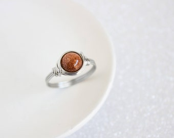 Wire Boho Rings - Goldstone Ring - Stainless Steel Ring - Wire Wrapped Ring - Rings For Women - Wire Wrapped Jewelry - Goldstone Jewelry