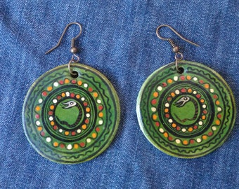 Round Circle Filigree,earrings Ceramic,earrings Snake,Romanian traditional motif,clay snake earrings,the snake of the house
