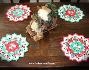 Christmas placemats-Holiday placemats-crochet placemats-Christmas doily-placemats-crochet Christmas placemats-Christmas table decor