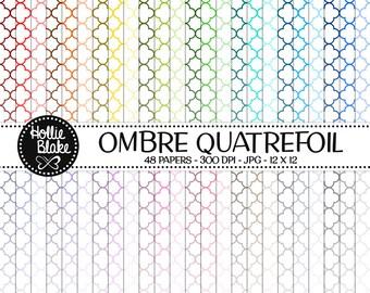 50% off SALE!! 48 Ombre Quatrefoil Digital Paper • Rainbow Digital Paper • Commercial Use • Instant Download • #QUATREFOIL-101-1-O