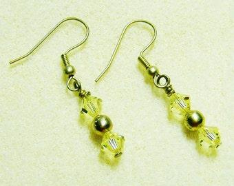 Swarovski Crystal Earrings - Handmade Light Yellow Bicones & Gold by JewelryArtistry - E602