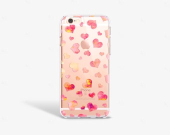Hearts iPhone 7 Case Clear iPhone 8 Case Clear iPhone 7 Plus Case Clear iPhone 6S Plus Case iPhone X Case Samsung Galaxy S8 Case