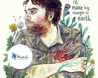 Make tiny Changes to Earth- Scott Hutchinson of Frightened Rabbit- A4 Print Raising money for MIND.