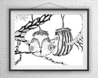 Nature Art Print, Surrealist Illustration, Dark Art, Creepy Cute, Creepy Illustration, Creepy Art Prints, Creepy Gift, creepy fine art,