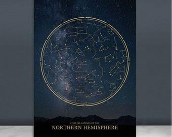 Constellations Print 30%off/star Astronomy Poster/Northern Hemisphere Star Chart/Zodiac print poster/modern minimal print/leo constellations