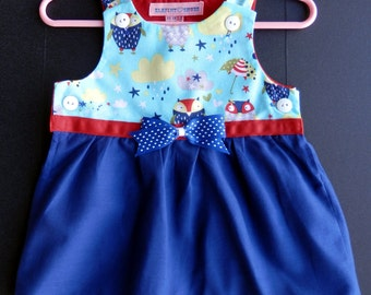 Teal, Blue owls and Yellow Clouds Infant Top - Size 6 mos.
