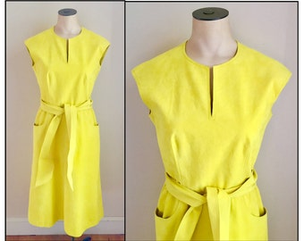 Vintage 1970s 80s Posh by Jay Anderson Yellow Suede Sleeveless Dress XS 0 2