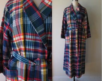 60's plaid robe / full length Wrap Shawl Collar Robe by Barsarobe size large