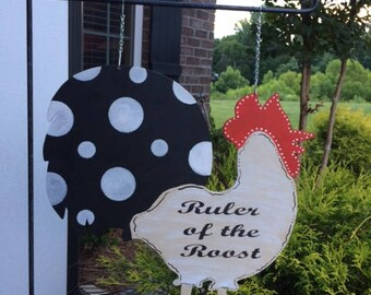ROOSTER Garden Flag | Ruler Of The Roost | Farmhouse Garden Flag | Farm Decor | Garden Decor | Mailbox Sign