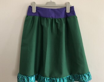 Ariel (Little Mermaid) inspired skirt, in adult size, with elasticated waist, fin peplum and purple waistband