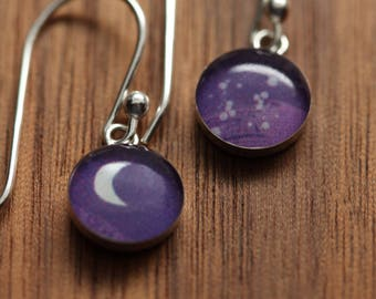 Tiny Moon earrings made from recycled Starbucks gift cards, sterling silver and resin.