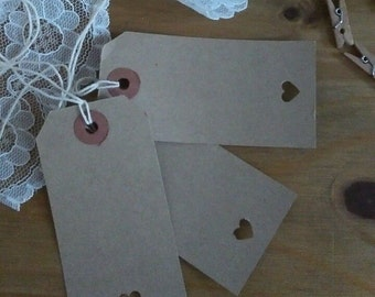 10 x Brown Heart Gift Tags/Wedding/Lables/Vintage/Luggage/Favours 96mm x 48mm