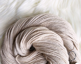 Naturally Dyed Organic Cotton, Worsted Weight Yarn, Black Bean Botanical Dye, Warm Beige, Vegan Yarn 164 yds 3.5 oz