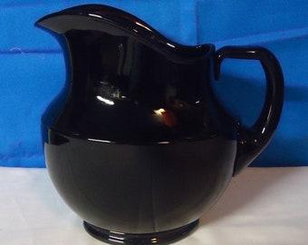 050418 01 Cambridge Glass Company Black Amethyst Glass Pitcher