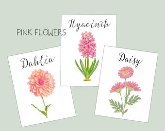 Pink  Wedding Table Cards, Table Markers, Table Tents, Wedding Table Cards, Floral Table Cards