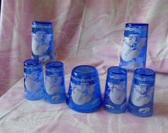 Six Vintage Cobalt Blue Hazel Atlas Glasses and Ice Bucket, Dutch Windmill Pattern, Vintage 1930's Pattern,