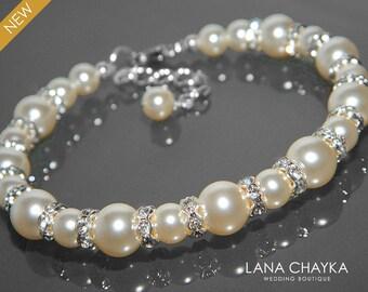 Pearl Bridal Bracelet Swarovski Ivory Pearl Silver Bracelet Wedding Pearl Bracelet One Strand Pearl Bracelet Ivory Pearl Bridesmaid Jewelry