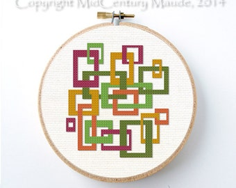 Mod Sqrares Cross Stitch Pattern Instant Download Geometric Mid Century Modern Retro design