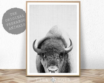 Buffalo Print, Bison Wall Art, Nursery Decor, Kids Room Poster, Black and White, Modern Minimal, Digital Download, Boys Room Art