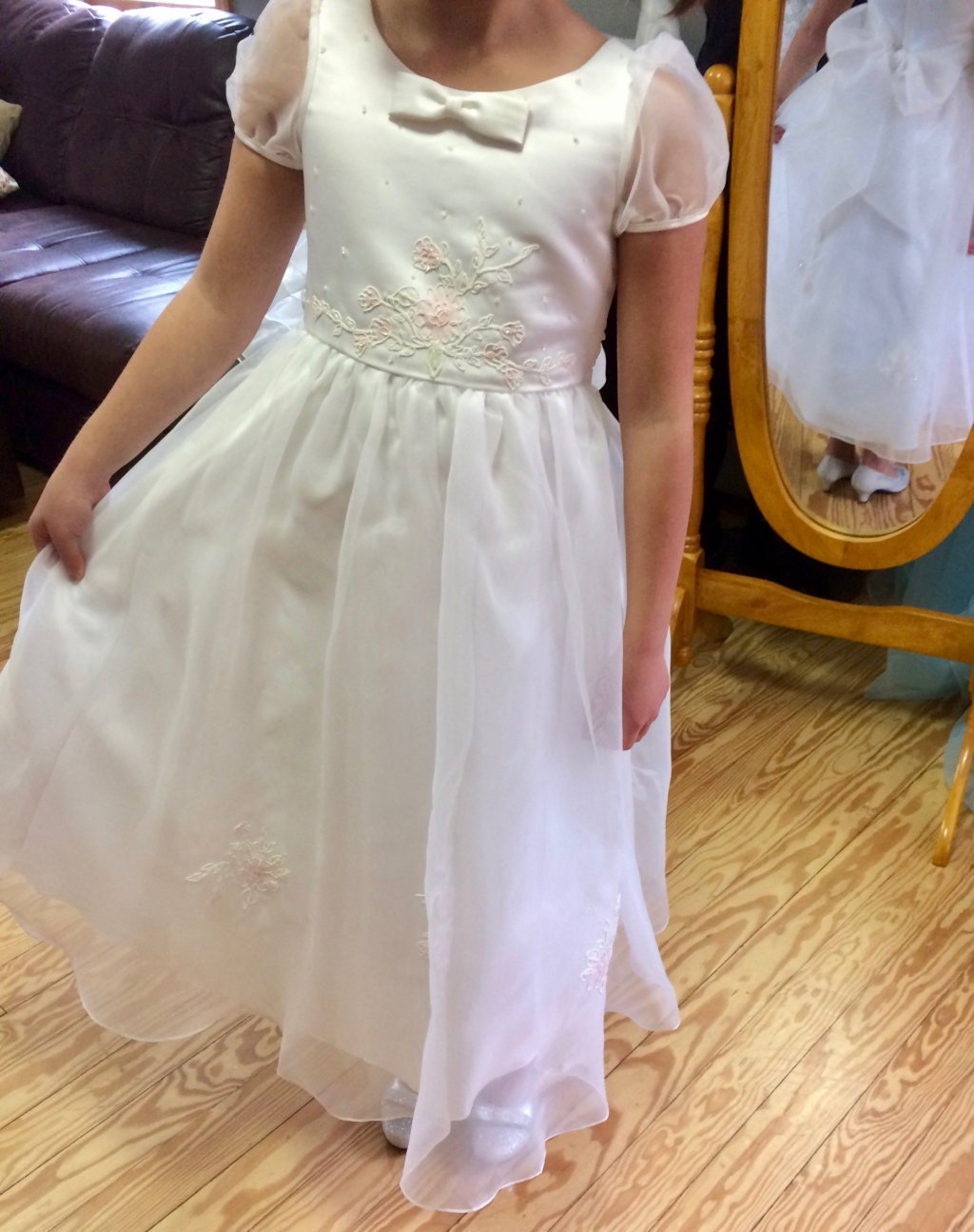 Simple Tulle Off White Flower Girl Dress White With Pink