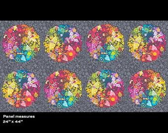 Alison Glass Fabric Panel, Art Theory Panel, A-7864-C Charcoal, Andover, 100% Cotton