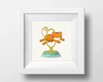 Circus Print | Cute tiger | Art Print | Circus Act| Wall Print |Circus theme nursery |Gift for her |Baby Gift |New Born | Nursery room |