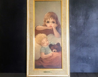 Vintage Baby Sitter Print by Miki Big Eyes Big Eyed Children's Print Babysitter by Miki