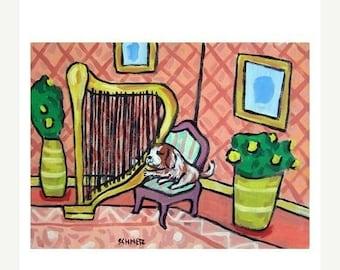 25% off Cavalier King Charles Spaniel Playing the Harp Art Print