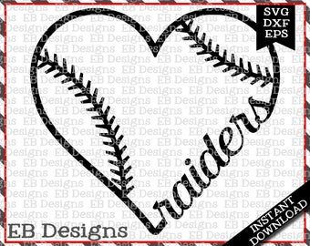 Raiders Baseball Love SVG DXF EPS Cutting Machine Files Silhouette Cameo Cricut Raiders Vinyl Cut File Softball Vector svg file