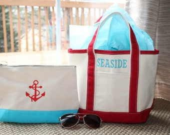 Personalized Boat Tote, Bridesmaids Gift, Monogram Beach Tote, Bridal Party Totes, Monogrammed Bridesmaid Gift, Bridesmaids Tote Bag, Tote