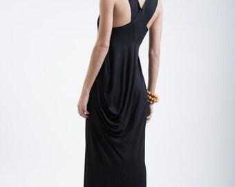 Black Bloom Dress / Long Black Dress / Unique Maxi Dress / Designer Strap Dress / Oversize Dress / Marcellamoda - MD0129