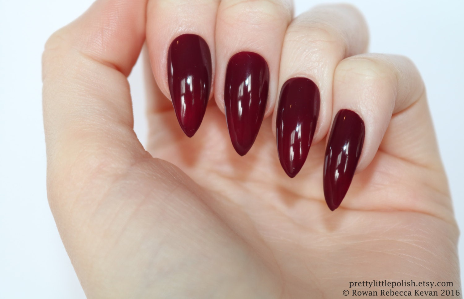 Burgundy stiletto nails Halloween nails Fake nail Stiletto