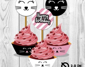Cats toppers and cupcake wrappers, kitty party, party paper decoration, Birthday Party Package, printables,