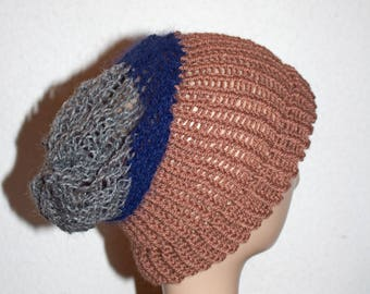 Wool Brown, Navy and gray slouchy Hat