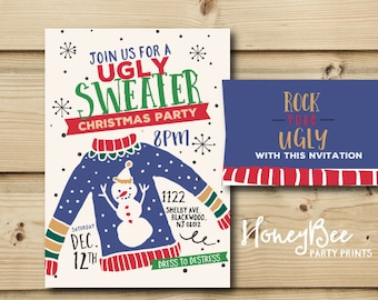 UGLY Sweater Christmas Invitation/// Hand drawn // Vintage