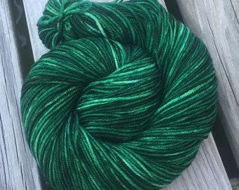 Treasure of the Emerald Isle Hand Dyed Green Worsted Weight Yarn Hand Painted yarn 218 yards Superwash Merino Wool Dark Christmas Green