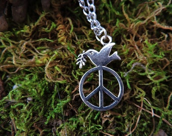 Summer of Love Necklace - Woodstock Necklace - Silver Necklace - Peace and Love Necklace