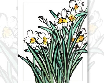 "Watercolor Chinese Brush Painting Cards  ""Daffodils"""