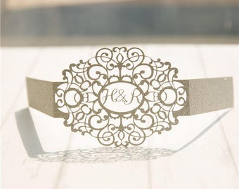 Laser Cut Monogrammed Oval Glitter Belly Band for Invitations Personalized Belly Band Glitter Belly Band Monogrammed Belly Band Laser Cut