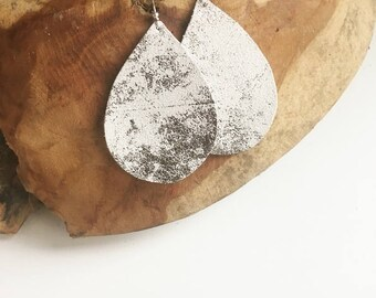 White silver Leather earring / drop leather earrings /  dangle earrings / suede leather drop earring/ gift for her teardrop marble earrings