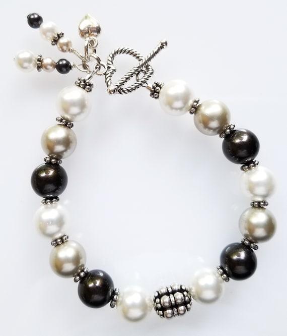 South Sea Shell Pearl Bracelet, White Pearl Bracelet, Pearl Bracelet, Silver Pearl Bracelet, Tahitian Pearl Bracelet