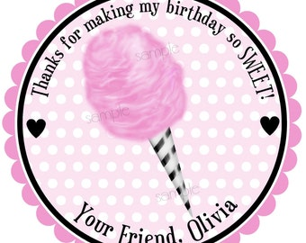 Cotton Candy Stickers, Circus stickers, Carnival stickers,Cotton Candy labels,Circus Party,Birthday, Circus,Carnival party,Favor, Set of 12