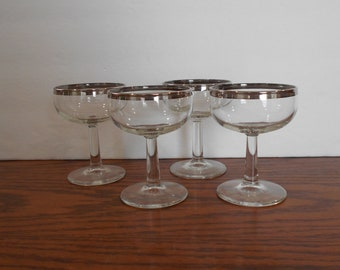 Silver Rimmed Wine Glasses Set of Four
