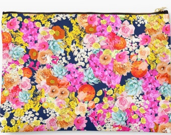 Colorful Summer Bright Floral Print with Navy Blue Background. Handy Accessory Clutch, Handbag, Makeup Pouch, Comes in two perfect sizes.