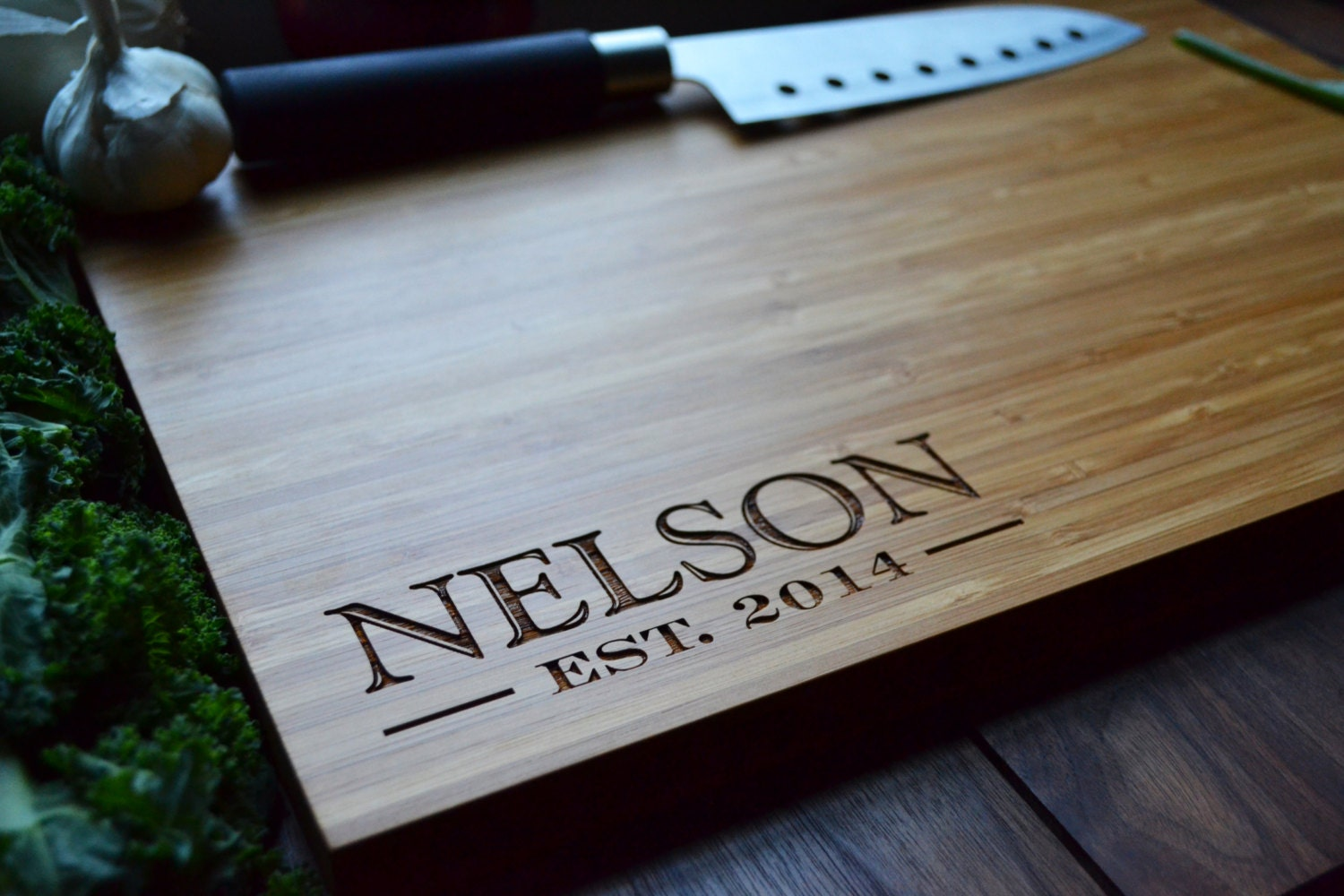 Personalized Cutting Board Engraved Bamboo Wood Family