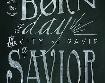 Christmas Bible Verse Printable Chalk Art - 2 24x36 typography designs // Instant Download
