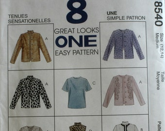Misses Jacket Sewing Pattern - Misses Top Sewing Pattern - McCalls 8540 - New - Uncut - Size 12-14