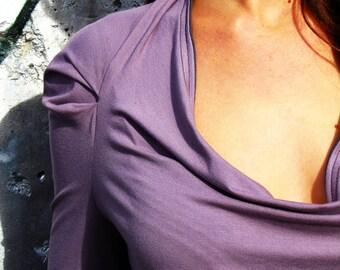 "Shirt  ""Wasserfall"" Longsleeve,viscose,sweater,women's jersey top,lilac,pleats at the sleeve"