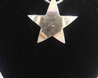 Taxco Star Pin Back Pendant Necklace Pin Brooch TD-42 Sterling Silver Large